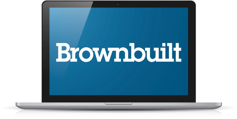 Laptop with Brownbuilt logo
