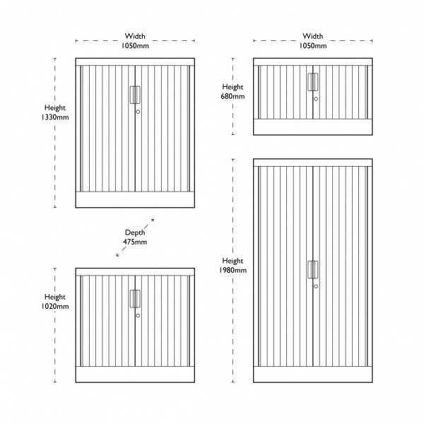 Waratah Tambour Cupboard Sizes
