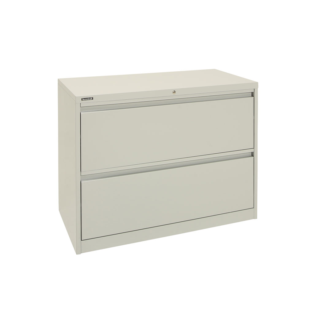 Grey 2 Drawer White Lateral Filing Cabinet with flush handles