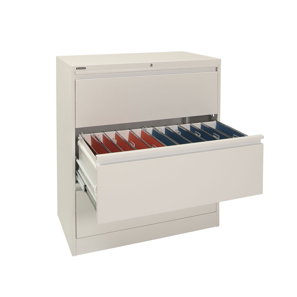 Grey 3 Drawer Lateral Filing Cabinet With Flush Handles