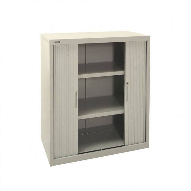 900w X 1020h Tambour Cupboard in Grey with 2 Shelves