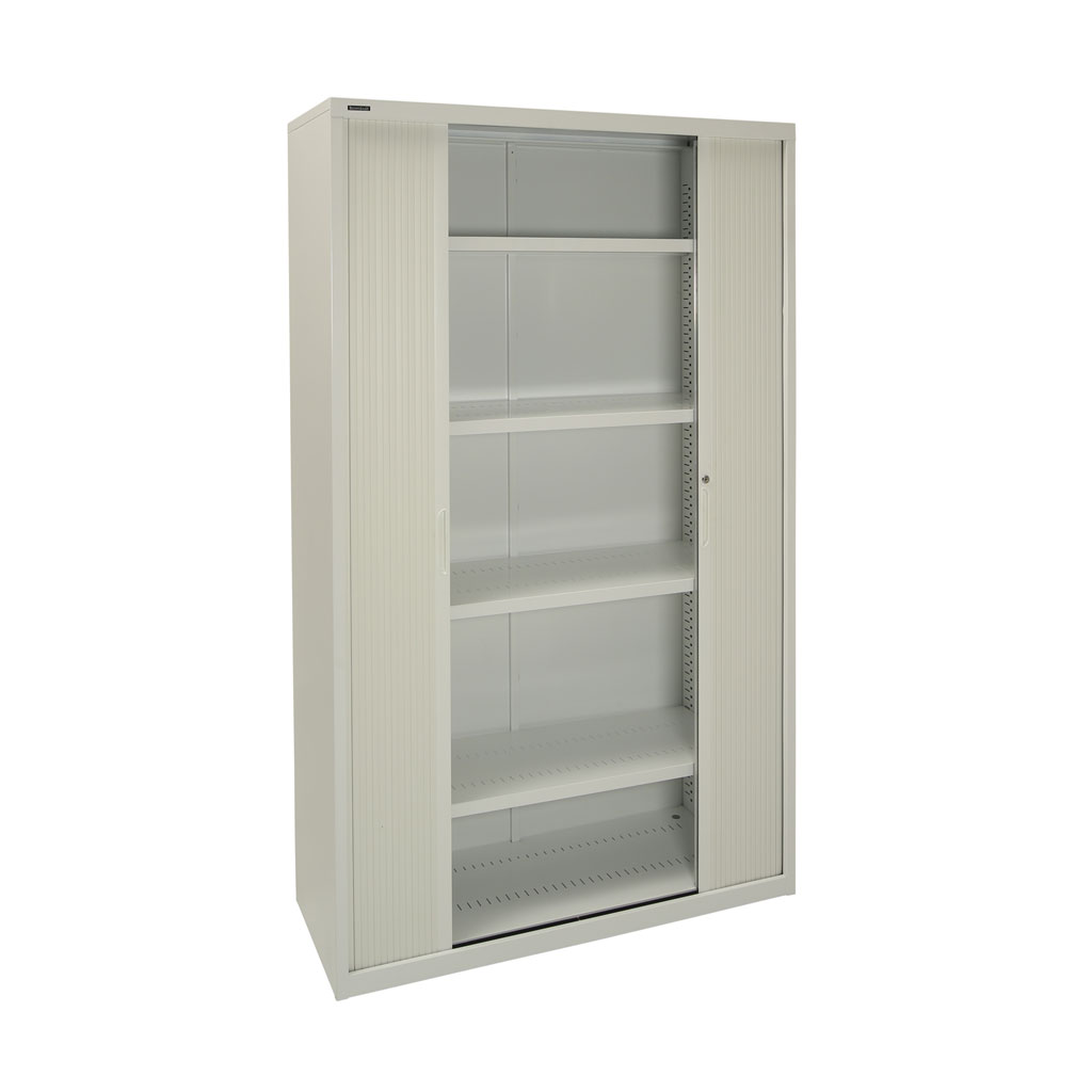 1980h Tambour Cupboard in Grey with 5 Shelves
