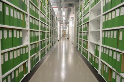 Brownbuilt - State Library of South Australia Rolled Upright Type Shelving with folders